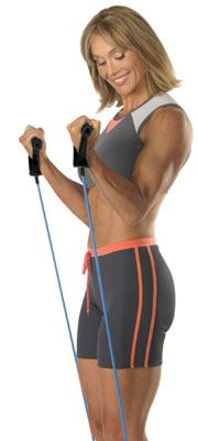 stretch cords are an excellent way to exercise at home or while traveling - any time.